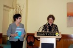 MC Carol Holmes introduces author Gloria Mehlmann