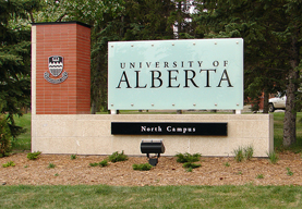 The campus put up new signage to celebrate the U of A's 100th birthday, in 2008.