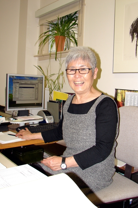 Yoko beams her delight as she finishes her final round of royalty payments, in spring 2008. She retired the following fall.