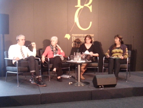 "Round table ""Toward the Formation of an Association of University Press Associations"". On stage with Linda Cameron of the University of Alberta Press are: Peter Berkery, Executive Director of the Association of American University Presses; Emmanuelle Corne, AEDRES (L'Association des éditeurs de la recherche et de l'enseignement supérieur), France; and Hetta Pieterse, Unisa Press, South Africa."
