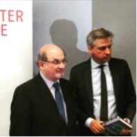 Salmon Rushdie shown here with Juergen Boos, CEO of the Frankfurt Book Fair